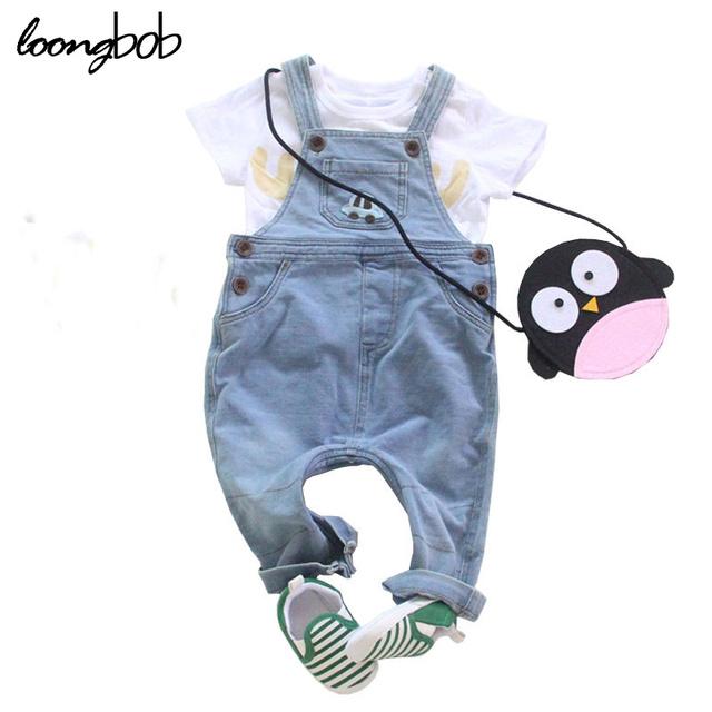 Niño del Bebé de Los Guardapolvos de los Niños Del Otoño Del Resorte Niñas Denim Jeans Pantalones Monos Pantalones Del Babero Niños Niño Ropa Infantil