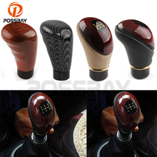 New Fashion Imitation Wood Carbon Fiber Style Gear Shift Knob Car Manual Transmission Handle Stick Lever ABS Leather Styling