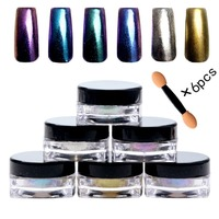 Nail Art Mirror Effect Glitter Powder Pigment Nail Glitters 6 Colors Set Holographic Laser Powder Free