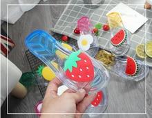 girls slippers summer hot flip flop children sandals fruits transparent beach kids shoes adult stawberry slipper