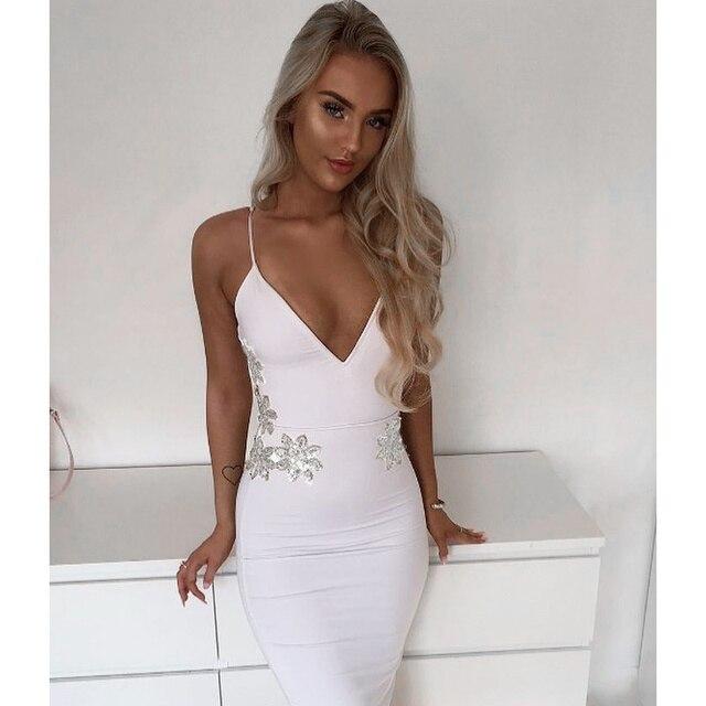 111d4e713bc Women Luxury Sexy V Neck Beading White Bandage Dress 2017 Knitted Bodycon  Designer Party Dress
