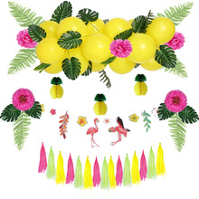 Summer Party Decoration Kit Banners Tropical Birthday Flamingos And Pineapples Balloon Wedding Celebration Luau Decor Sale