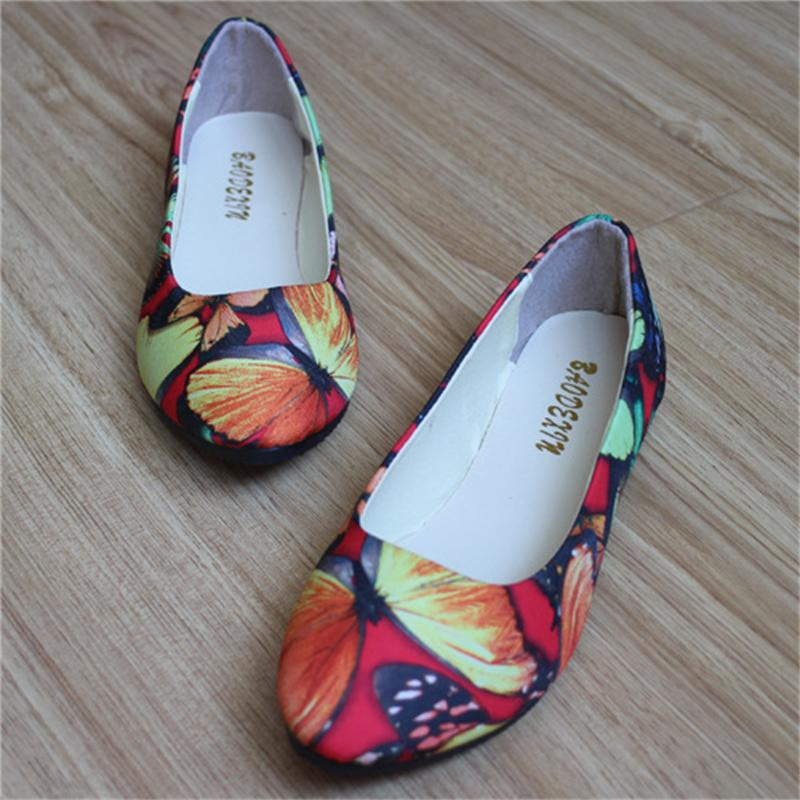 Women Flats Slip On Casual Shoes 2017 Summer Fashion Butterfly New Comfortable Flat Shoes Woman Work Loafers Plus Size 35-42 women flats slip on casual shoes 2017 summer fashion new comfortable flock pointed toe flat shoes woman work loafers plus size