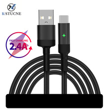 Auto Disconnect USB Cable For iPhone X XS Max XR 7 8 Plus Fast Charging Xiaomi Huawei Samsung Data Sync