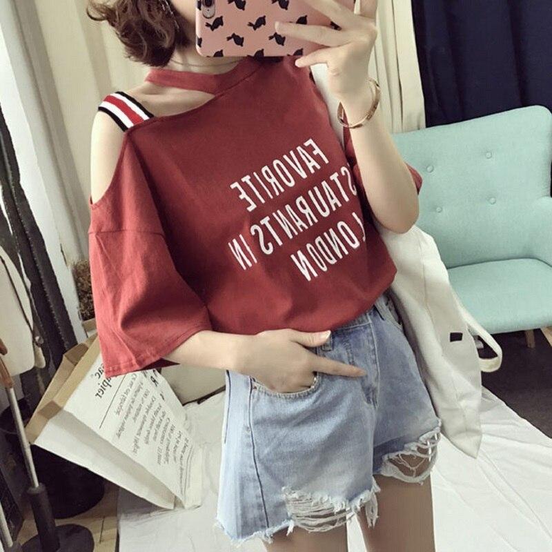 Women Sexy Off Shoulder Fashion Loose T Shirt Harajuku 2019 Korean Style Letter Printed Female White Basic Tops Females T-Shirts