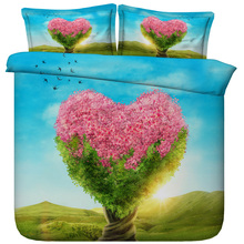 6 Parts Per Set Bed Sheet Set Fantasy Love Blossoming Tree 3d Bed set