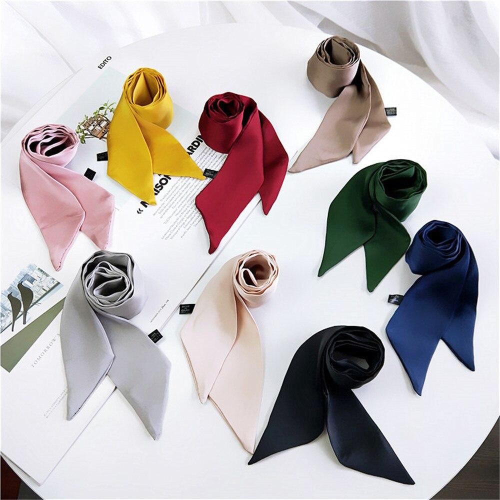 Collection Here All-match Small Scarf 90*5cm Spring Summer Women Elegant Silk Feel Satin Neckerchief Head-neck Hair Tie Band Bag Wristband Wrap Apparel Accessories