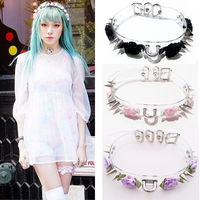 Wholesale New Sexy Punk Handcrafted Flower Harajuku Clear Safe Heart Choker Collar Necklace Rose Double Spikes Vinyl Chaplet