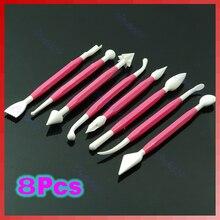 E74 6 sets (8 unids/set)/lot hand made fruit cake galleta que adorna pega flower fondant herramientas de modelado