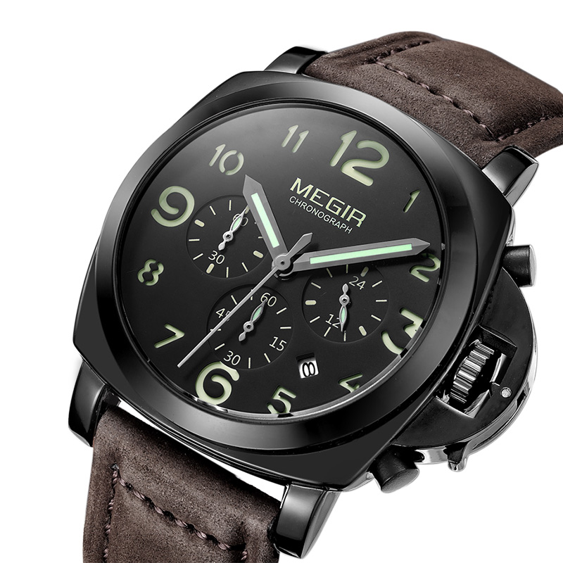 MEGIR Chronograph Luminous Herrenuhren Top-marke Luxus Wasserdicht Männer Quarzuhr Aus Echtem Leder Armbanduhren 2016