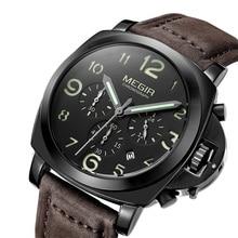 MEGIR Chronograph aydınlık erkek saatler Top marka lüks su geçirmez erkek spor kuvars saat hakiki deri kol saatleri 2016