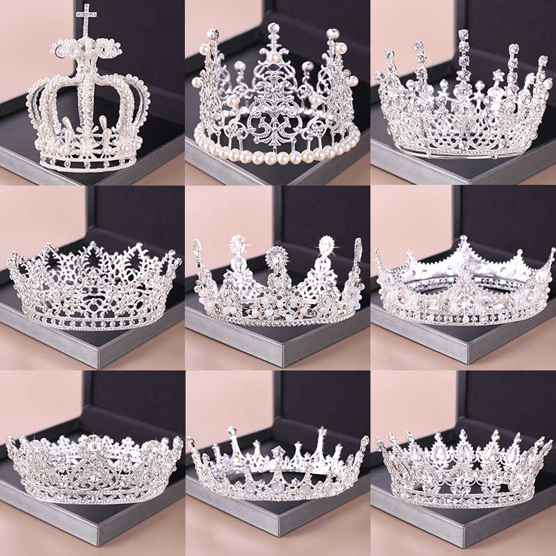 Fashion Silver Tiara And Crowns Crystal Queen Princess Diadem Bridal Round Crown Hair Jewelry For Wedding Women Hair Accessories