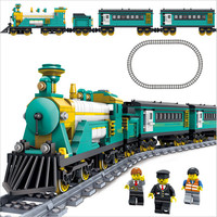KAZI Building Blocks Train with Tracks Diesel electric Toy Freight Train Battery Powered Educational Toys for Children