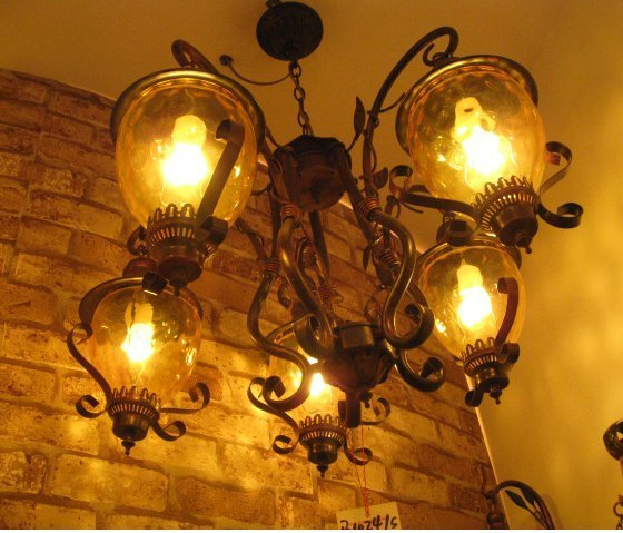 Фото Unique Design vintage wrought iron pendant light 5 head pub fashion pendent lamp dinning room pendent lamp free shipping