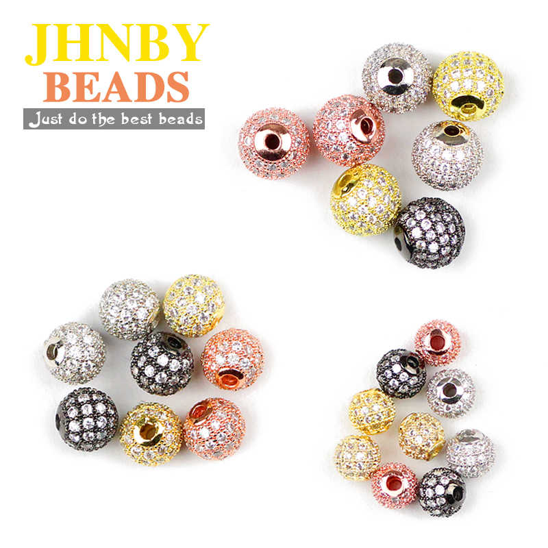 JHNBY 4pcs White Zircon Copper Spacer beads 6/8/10mm Round Pave CZ Crystal ball Loose beads Jewelry bracelet making DIY Findings