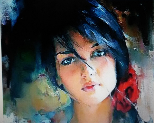 100% Handmade canvas painting beautiful women painting ...
