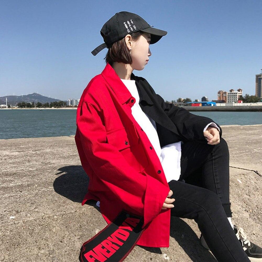 BF Harajuku Bomber   Jacket   Coat Women Loose Stylish Pocket Design Cool Red Streetwear Hot Sale Kpop Yellow Casual   Basic     Jackets