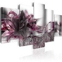 5ピースプリント絶妙な背景紫色のユリの花絵画キャンバスプリントルームの装飾プリントピクチャー額装pjmt-(12)