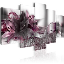 5 Pieces Printed Exquisite background purple lily flowers Painting Canvas Print Room decor print Picture Framed PJMT- (12)