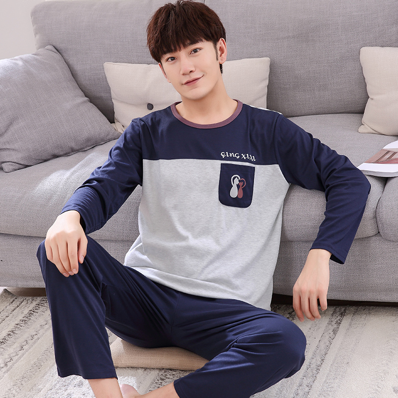 Free shipping Winter And Autumn Mens Pyjamas 100%Cotton Cartoon Pajamas Long-sleeve Casual Men Pajama Set Plus Size L-XXXL ...
