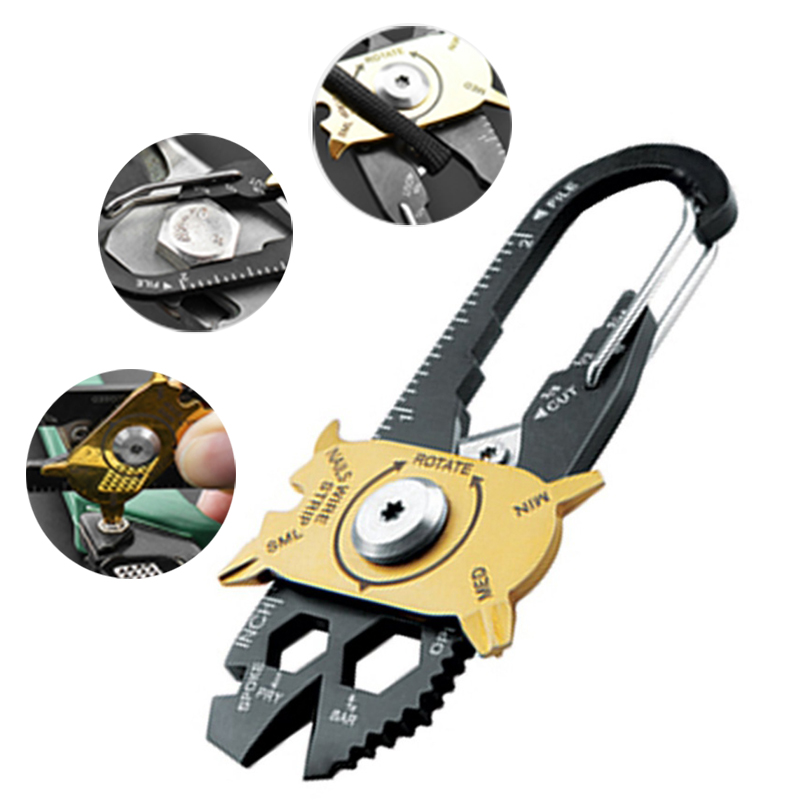 Gadget Portable EDC Mini Utility Fixr 20 in 1 Multi Tool Keychain Outdoor Camping Tools Carabiner For Survival Climbing