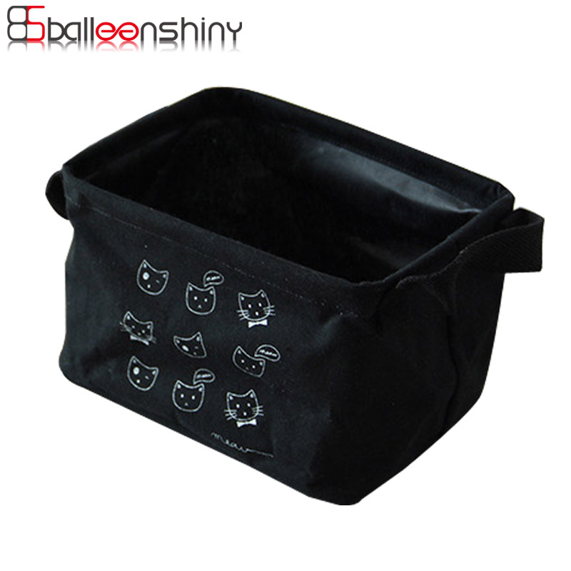 BalleenShiny Cute Cartoon Desk Storage Basket Box Cosmetic Makeup Organizer Sock Cotton  ...