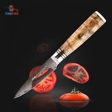 Damascus Kitchen Knife – Findking 3.5″ Damascus Paring Knife with Sapele Wood Handle