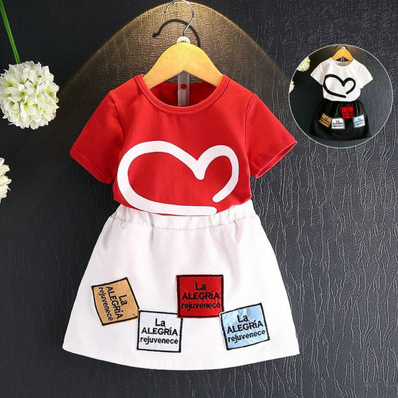 DKDGNY Child wear girl suit short sleeved cotton T-shirt + embroidered skirt The 2018 summer new 2-8 children s garment 2017 summer new pattern girl school the wind of cotton t straps cowboy skirt two pieces suit
