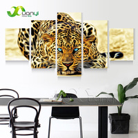 5 Plane Art Print Abstract Oil Painting Leopards Modern Home Decor Wall Art Canvas Animal Picture