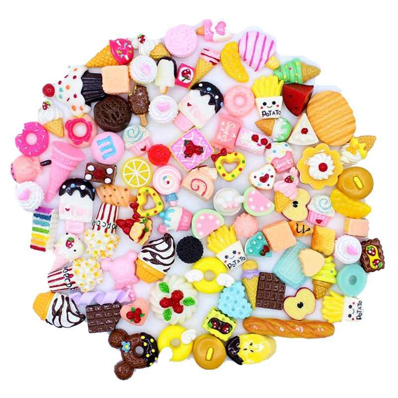 10Pcs Diy Slime Supplies Accessories Phone Case Decoration for Slime Filler Miniature Resin Cake Fruits Candy Chocolate Learning