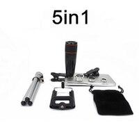 Universal 5in1 Kit 12X Zoom Camera Telephoto Lenses Professional Clip 3in1 Wide Angle FishEye Macro Lens
