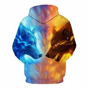 Image 2 - Ice Fire Wolf Hoodies by JoJoesArt 3D Men Women Hooded Pullover Tracksuits Harajuku Hoodies Sweatshirt Men 2018 Casual Animal