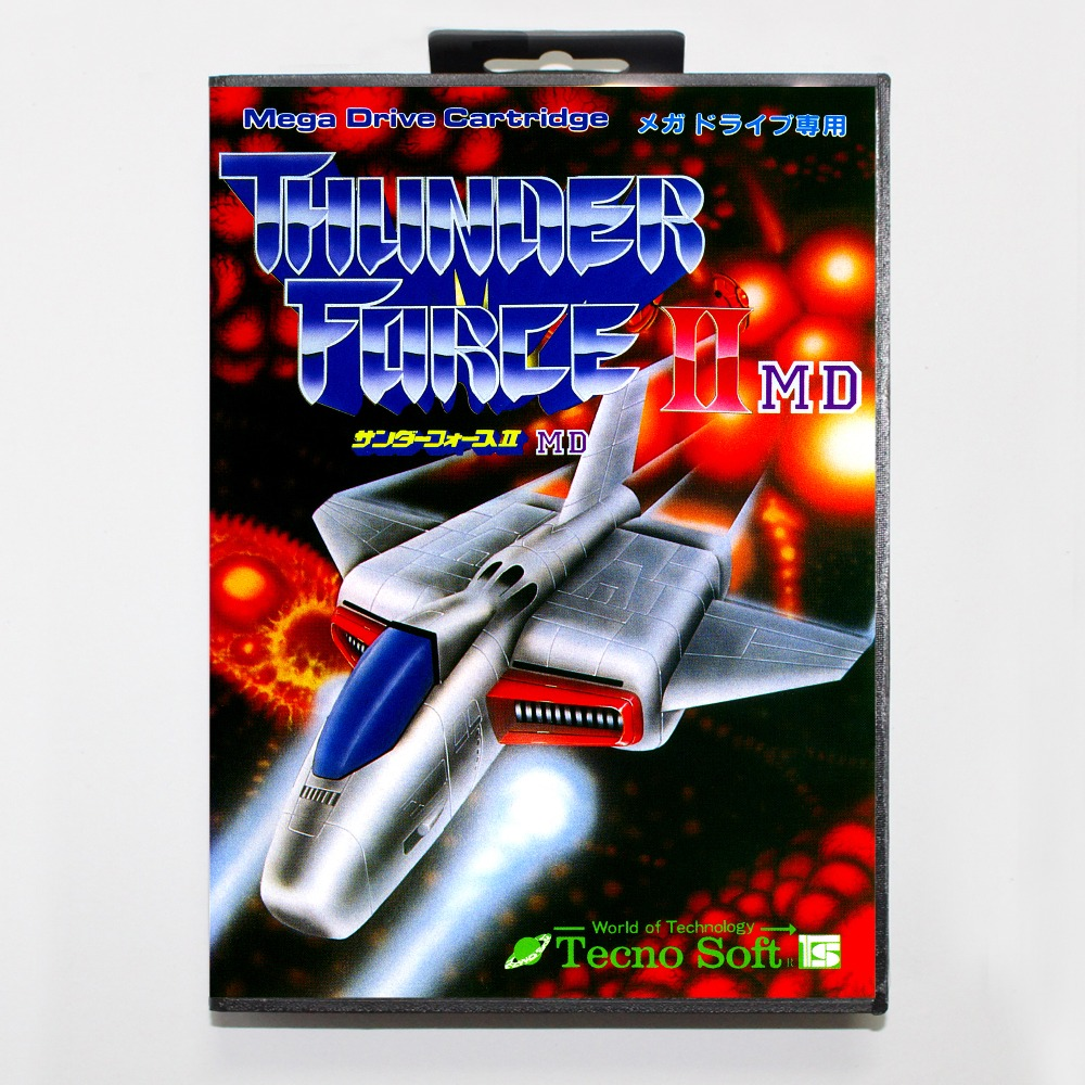 Sophie's Game Shop Thunder Force II 16 bit MD card with Retail box for Sega MegaDrive Video Game console system