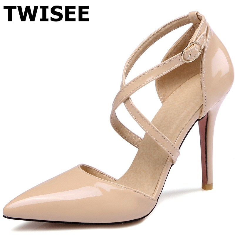 Cross-tied pu leather fashion Pointed Toe summer pumps Rubber Beautiful Buckle Strap chaussure femme women high heels shoes women pumps flock high heels shoes woman fashion 2017 summer leather casual shoes ladies pointed toe buckle strap high quality