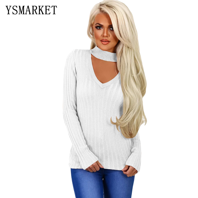 Womens <font><b>Ribbed</b></font> Choker V-Neck Sweater Female <font><b>Knitted</b></font> Top <font><b>Pullover</b></font> Lady Basic Loose Long Sleeve Shirt <font><b>Hollow</b></font> <font><b>Out</b></font> Jumper E27699