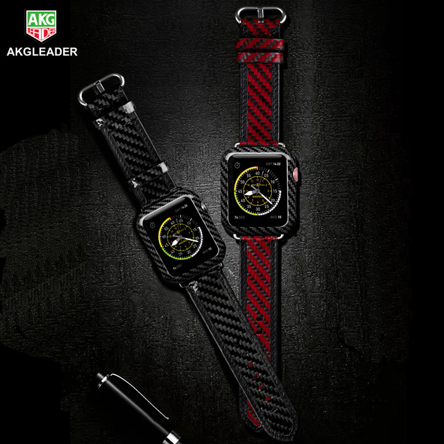 AKGLEADER 38-42mm For Apple Watch Series 4 Band Real Carbon Fiber Watch Band For Apple Watch Series 1 2 3 Wrist Leather Strap for apple watch series 4 iwatch band real carbon fiber watch straps for apple watch series 1 2 3 leahter bracelet 38 42 40 44mm