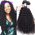 Cheap Virgin curly hair Ali moda hair 4pcs/lot Brazilian virgin hair weave Deep curly Human hair extension Free shipping Color1b