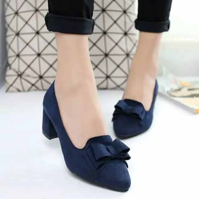 f0876aa0d89 ... Big Size Women Shoes Pointed Toe Bowtie Boat Shoes Office dress Shoes  Woman High Heels Pumps ...