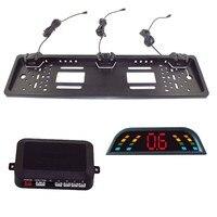 Car Parking Sensor Kit Auto Reversing Radar European License Plate Camera Front Back Electromagnetic Monitor System