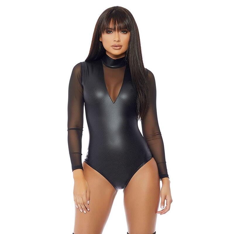 a3cef2259d Wetlook Bodysuit malla manga larga cuello alto cuero Catsuit lencería Sexy  Club transparente negro imitación vinilo cuerpo trajes para mujeres