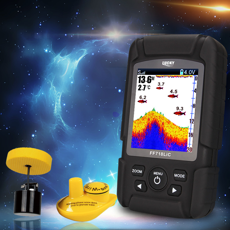 Manuale russo Fish Finder senza fili, wireless sensore di ecoscandaglio fishfinder sonar lure di pesca finder FF718Lic con Batteria Al Litio