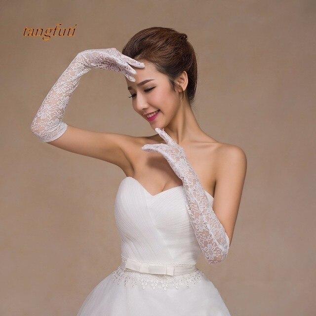rojo blanco marfil de la boda guantes de encaje guantes de novia
