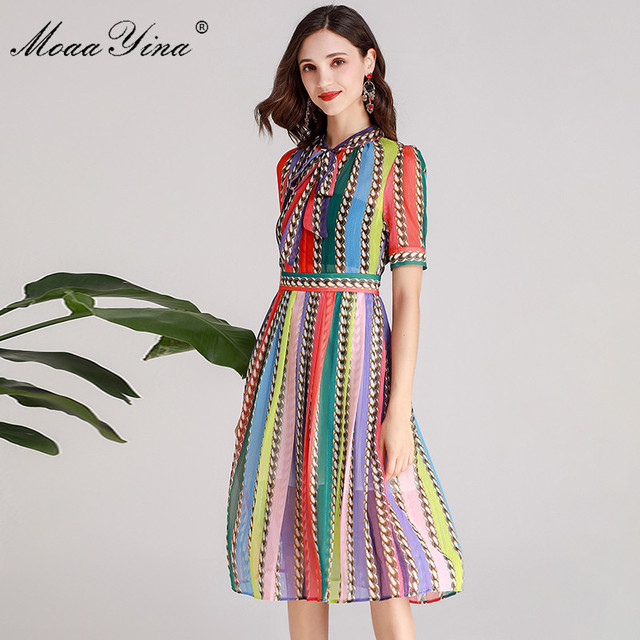 MoaaYina Fashion Designer Runway dress Spring Summer Women Dress Bow collar Short sleeve Colorful Stripe Dresses