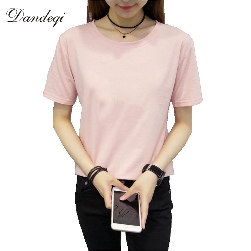 Brand Women Cotton T shirt Quality Short Sleeve Top Solid Color Basic Tee Camisetas Mujer Casual