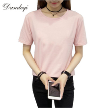 Brand Women Cotton T-shirt Quality Short Sleeve Top Solid Color Basic Tee Camisetas Mujer Casual Blusa