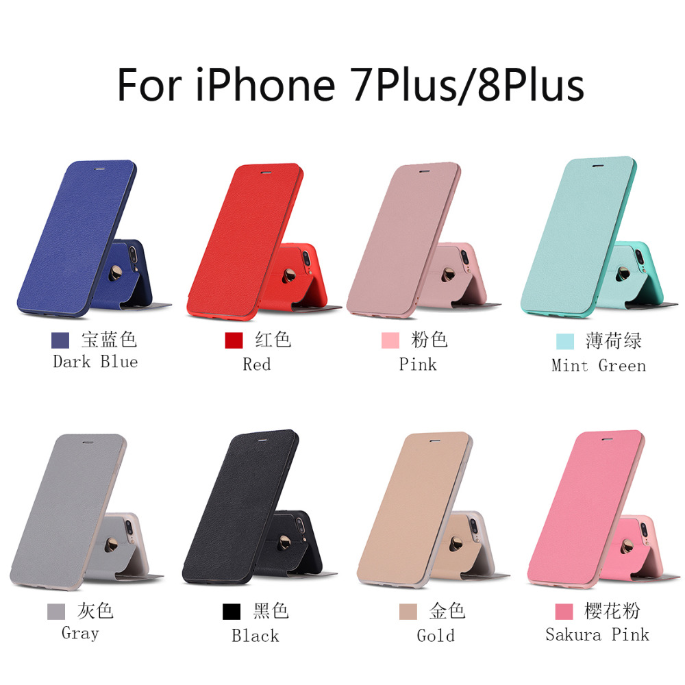 2018 Ultra Thin PU Leather Wallet Flip Phone Cover Colorful Series Phone Shell Case For iPhone 6 7 8 X for iphone 8 Plus UM