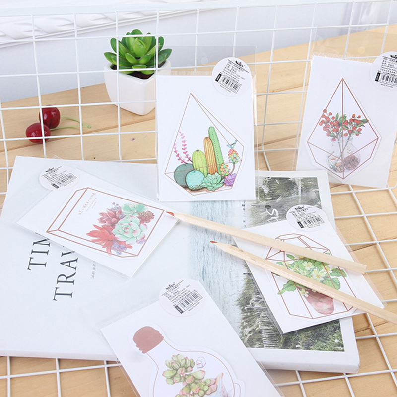 5pcs/lot Kawaii Flower House Story Greeting Card Plant Flower Card Bless Greeting Cards Stationery Envelope Message Card