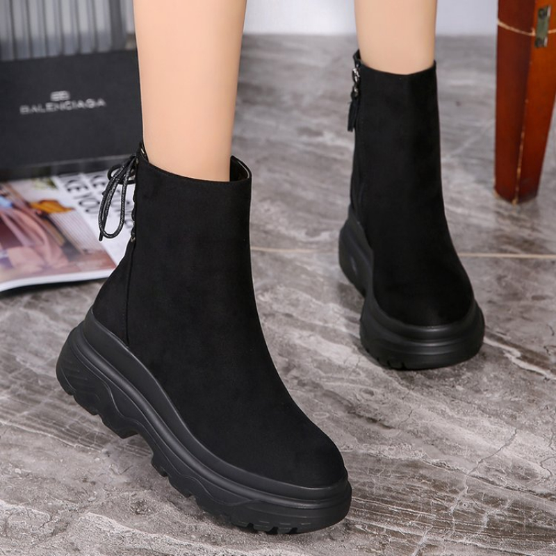 Image 3 - SWYIVY Ankle Boots Women 2019 Winter Black Boots Woman Casual Shoes Plush Platform Snow Boots Women Martin Shoes Female SneakersAnkle Boots   -