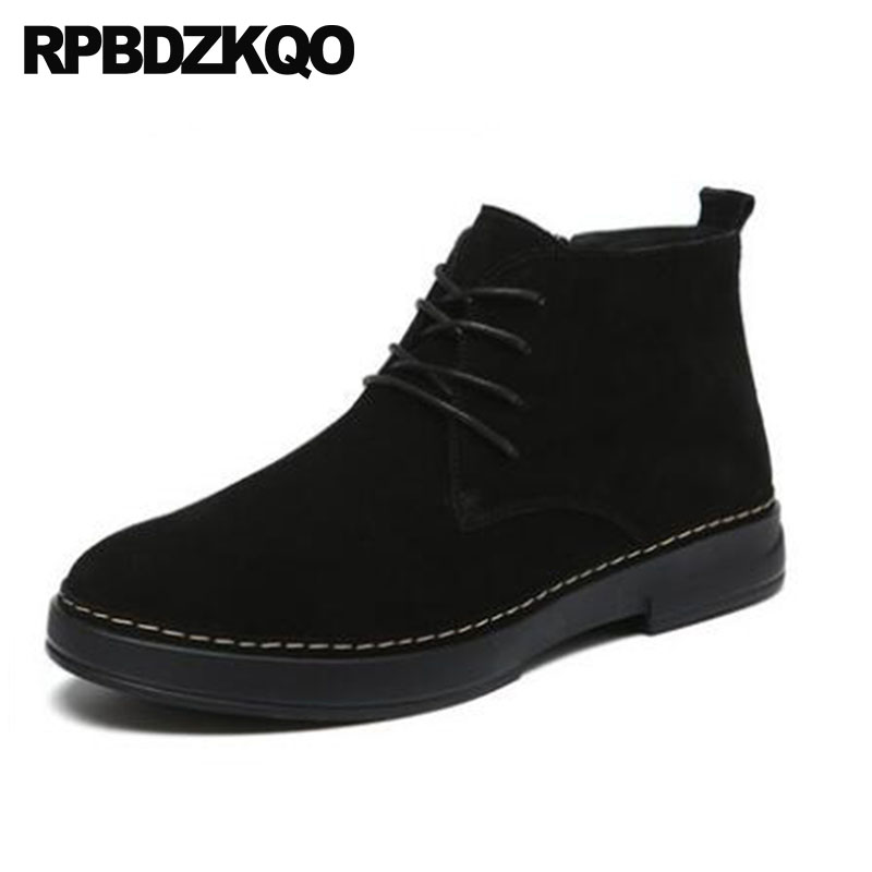 Mens Winter Boots Warm Booties Black Shoes Suede Italian Lace Up Zipper Faux Fur Stylish Short Slip On High Top Chelsea Ankle round toe women winter boots denim design high top lace up shoes butterfly knot embellished crystal decor stylish short booties