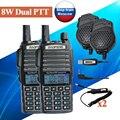 2 unids BAOFENG UV-5R 8 w UV-82HX Dual PTT UHF VHF Radio walkie Talkie, hermana de jamón cb de radio baofeng uv-82 uv-8d UV-5RA GT-3TP